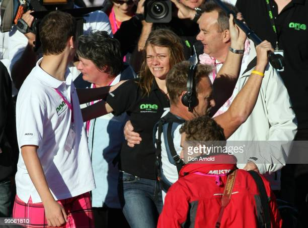 Teen sailor Jessica Watson arrives back home in Sydney and is greeted by brother Tom mother Julie and father Roger following her world record attempt...