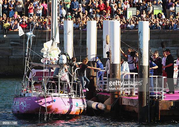 Teen sailor Jessica Watson is greeted by her family after arriving back home in Sydney following her world record attempt to become the youngest...