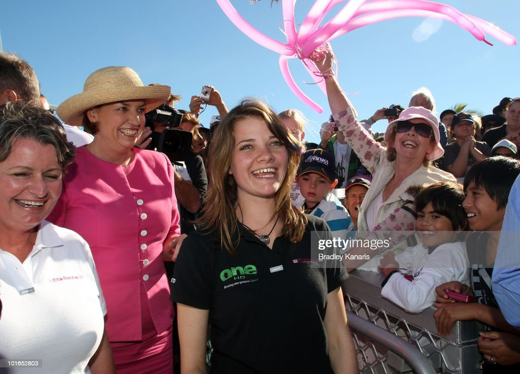 Teen sailor Jessica Watson is welcomed back to her hometown of Mooloolaba on June 6, 2010 on the Sunshine Coast, Australia. Watson returned to Australia to a hero's welcome on May 15 after sailing solo, non-stop and unassisted around the globe, completing the journey in 210 days.