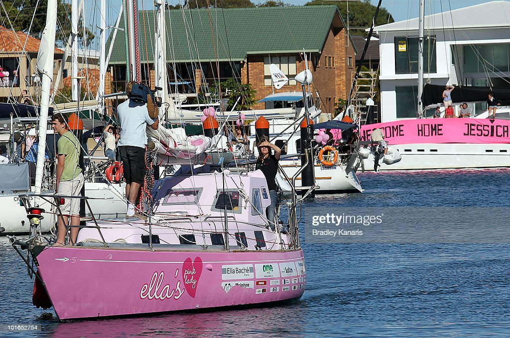 Teen sailor Jessica Watson sails back to her hometown of Mooloolaba on June 6, 2010 on the Sunshine Coast, Australia. Watson returned to Australia to a hero's welcome on May 15 after sailing solo, non-stop and unassisted around the globe, completing the journey in 210 days.