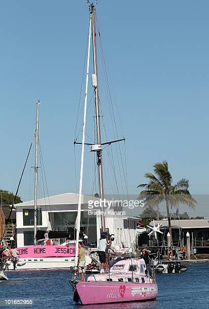 Teen sailor Jessica Watson sails back to her hometown of Mooloolaba on June 6 2010 on the Sunshine Coast Australia Watson returned to Australia to a...