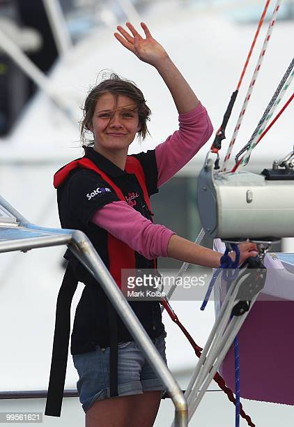 Teen sailor Jessica Watson waves as she arrives in Sydney following her world record attempt to become the youngest person to sail solo nonstop and...