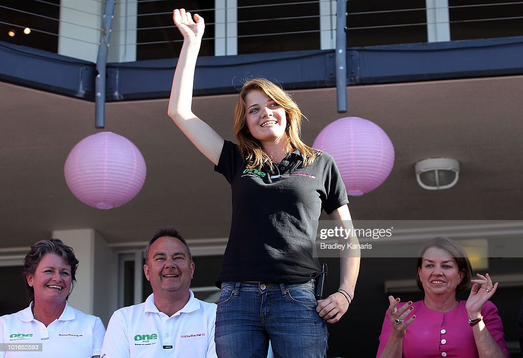 Teen sailor Jessica Watson waves to the crowd as she is welcomed back to her hometown of Mooloolaba on June 6, 2010 on the Sunshine Coast, Australia. Watson returned to Australia to a hero's welcome on May 15 after sailing solo, non-stop and unassisted around the globe, completing the journey in 210 days.