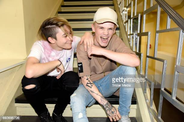 UK teen stars Bars Melody attend the norwegian twin brothers pop duo and teen stars Marcus Martinus showcase on June 5 2017 in Berlin Germany