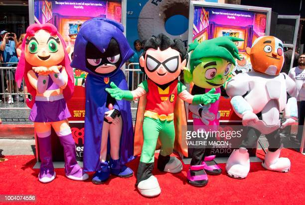 """Starfire, Raven, Robin, Beast Boy And Cyborg attend the premiere of Warner Bros. Animations """"Teen Titans Go! to the Movies"""", July 22, 2018 in..."""