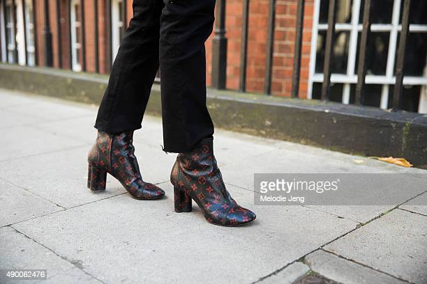Teen Vogue editor Jessica Minkoff black Acne jeans and Louis Vuitton boots during London Fashion Week Spring Summer 2016 at on September 19 2015 in...