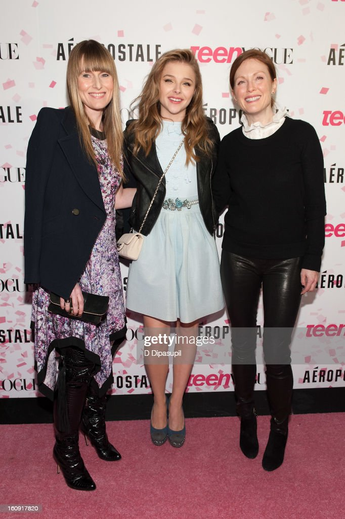 Teen Vogue Editor-in-Chief Amy Astley, Chloe Grace Moretz, and Julianne Moore attend the Teen Vogue 10th Anniversary and Chloe Grace Moretz Sweet 16 Celebration at Aeropostale Times Square on February 7, 2013 in New York City.