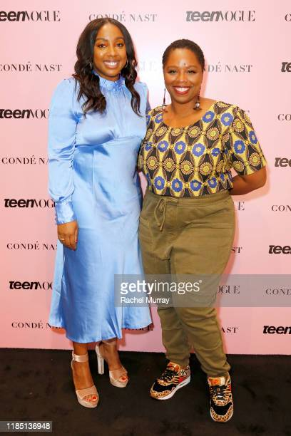 Teen Vogue editorinchief Lindsay Peoples Wagner and Patrisse Cullors attend the Teen Vogue Summit 2019 at Goya Studios on November 02 2019 in Los...