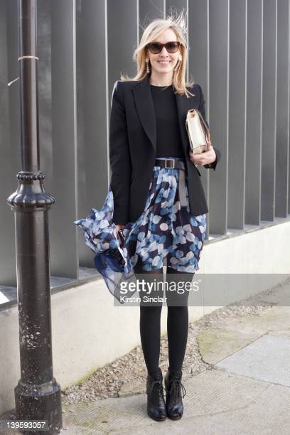 Teen Vogue USA Editor Jane Keltner De Valle Proenza Schouler shoes skirt and bag Jason Wu Givenchy blazer Celine sunglasses street style at London...