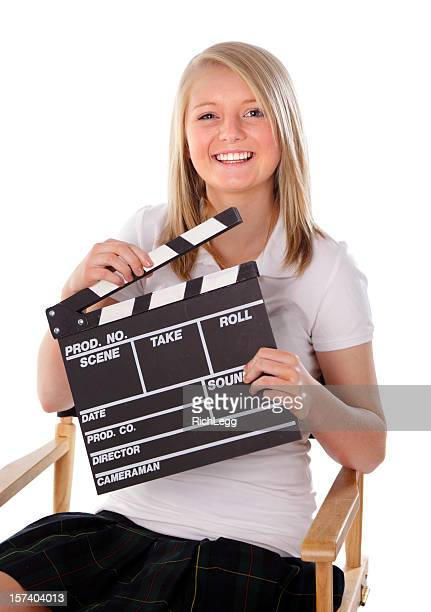 Teen with Movie Clapboard