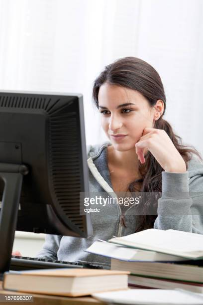 Teen working at computer