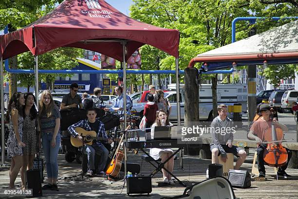 Teenage band performing at Granville Island,Vancouver,Canada