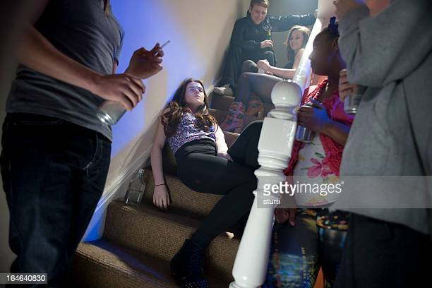 teenage booze at a house party - binge drinking stock photos and pictures