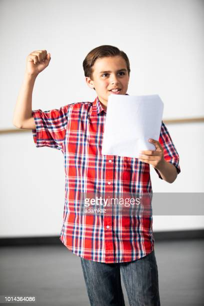 teenage boy actor practicing theatre - rehearsal stock pictures, royalty-free photos & images