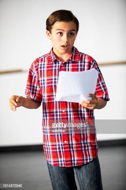teenage boy actor practicing theatre - audition stock pictures, royalty-free photos & images