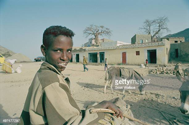 A teenage boy and some donkeys in Eritrea 2004