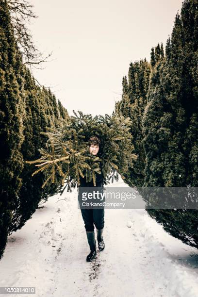 Teenage boy carrying a Christmas tree home.