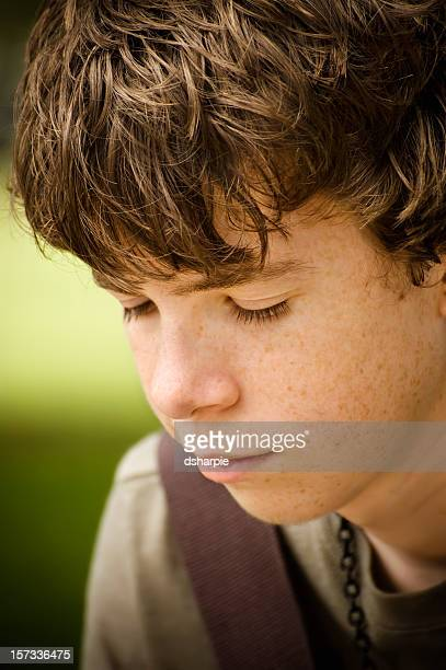 Teenage Boy Closeup Thoughtful Portrait