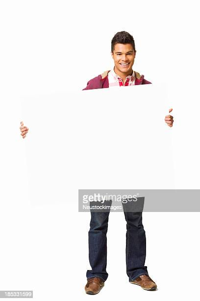 Teenage Boy Holding a Blank Sign - Isolated