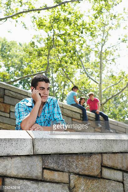 Teenage boy on mobile phone, two people in background