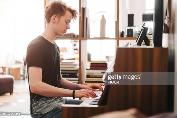 自宅でピアノを弾く10代の少年 - キーボード奏者 ストックフォトと画像