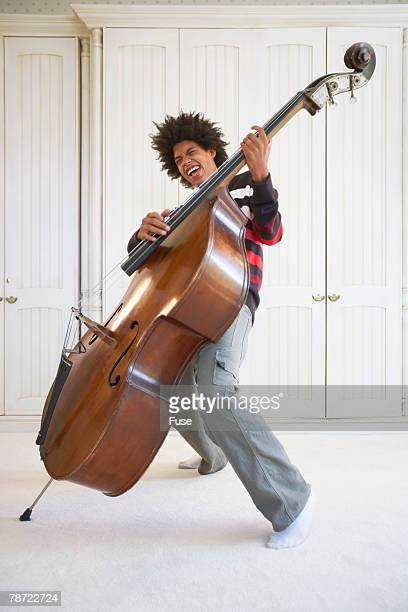 Teenage Boy Playing the Upright Bass