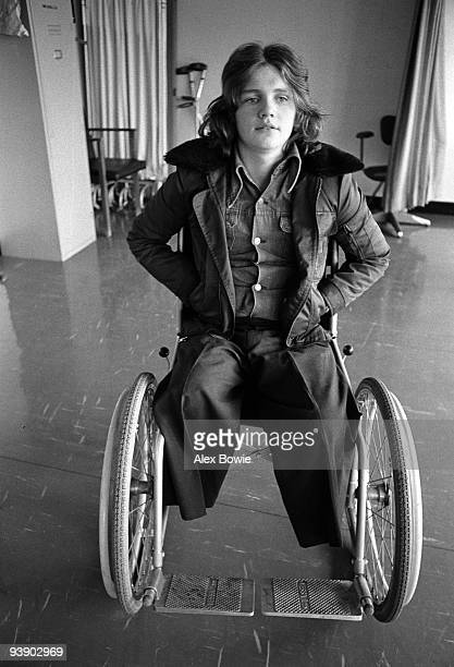 A teenage boy sits in a wheelchair at the Royal Victoria Hospital after losing his legs in a pub bombing in Belfast 10th March 1972