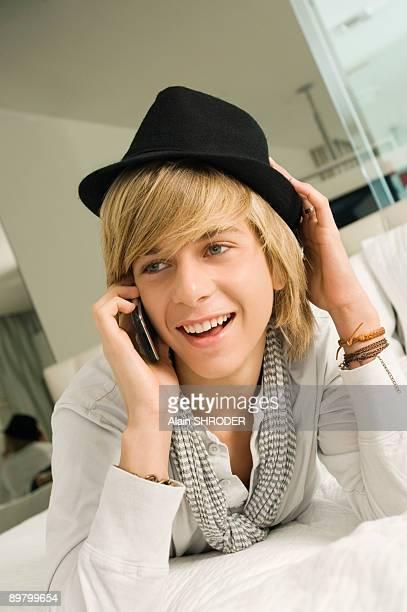 Teenage boy talking on a mobile phone