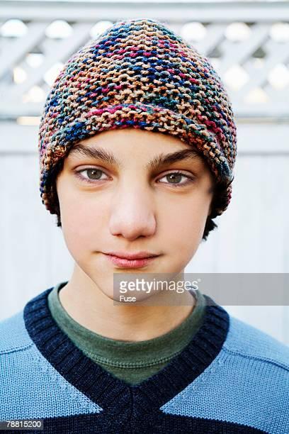 Teenage Boy Wearing Knit Cap