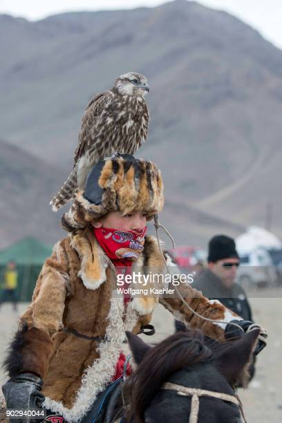 A teenage boy with a saker falcon on his head at the Golden Eagle Festival near the city of Ulgii in the BayanUlgii Province in western Mongolia