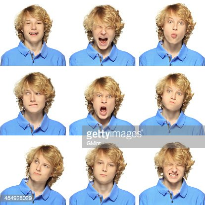 teenage boy with curly blond hair expression collection on
