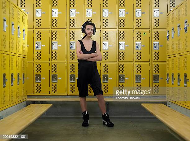 teenage boy (12-14) wrestler, in locker room, portrait - high school musical: the musical: the series stock photos and pictures