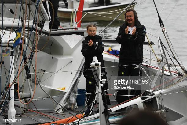 Teenage climate activist Greta Thunberg and her father Svante Thunberg arrives into New York City after crossing the Atlantic in a sailboat on on...