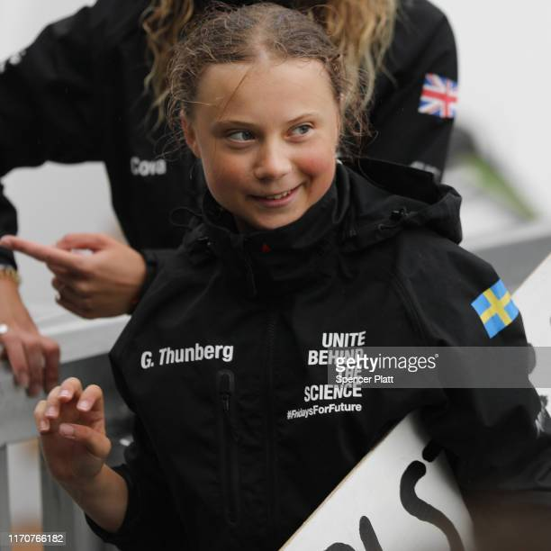 Teenage climate activist Greta Thunberg arrives into New York City after crossing the Atlantic in a sailboat on on August 28 2019 in New York City...