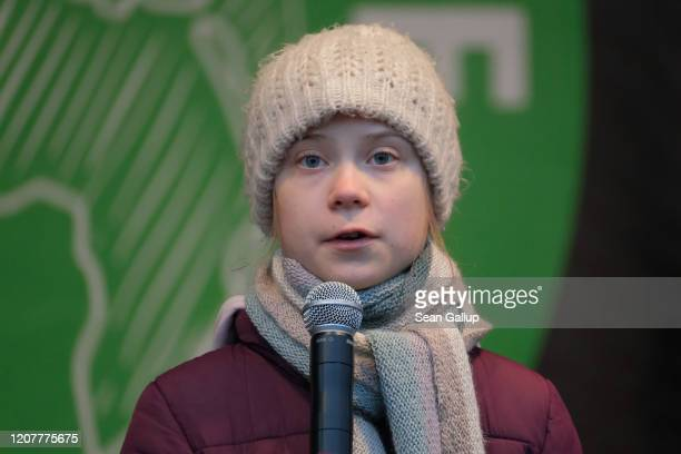 Teenage climate activist Greta Thunberg speaks at a Fridays for Future climate protest on February 21 2020 in Hamburg Germany The citystate of...