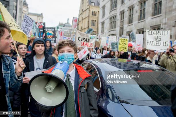 Teenage Climate Crisis activists from various climate activism groups protesting in Westminster during the first UK Students Strike Over Climate...