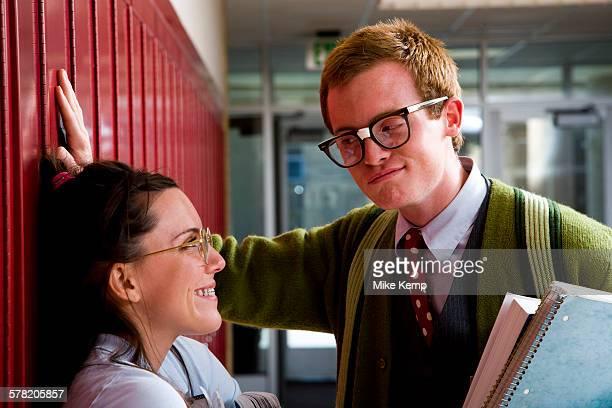 Teenage couple at school, or, Nerd Love