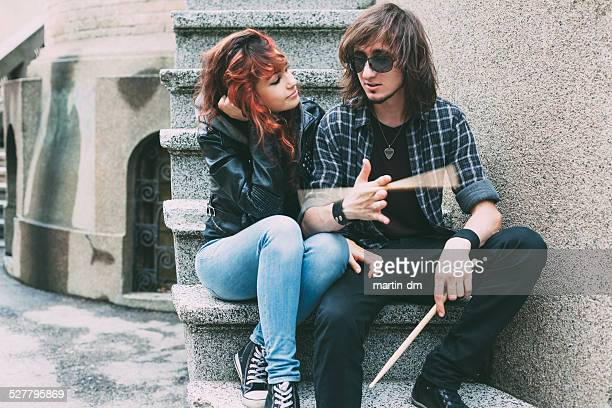 Teenage couple having a good time