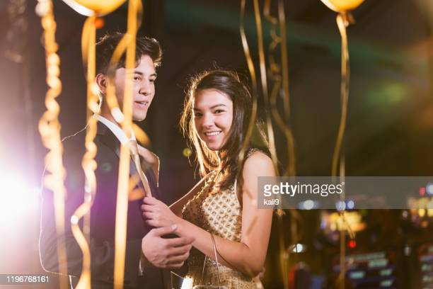 teenage couple having fun at prom - prom stock pictures, royalty-free photos & images