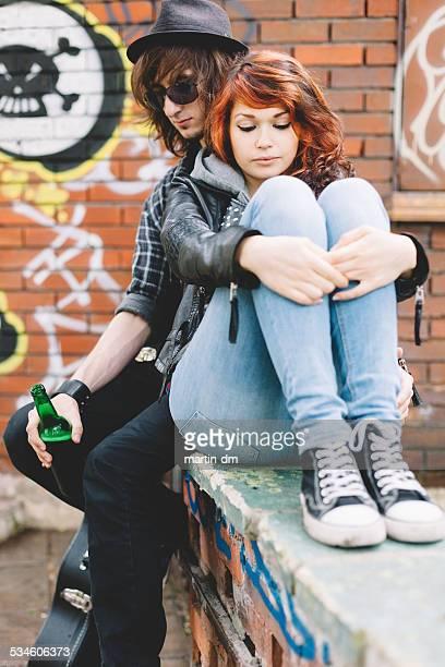 Teenage couple having problems