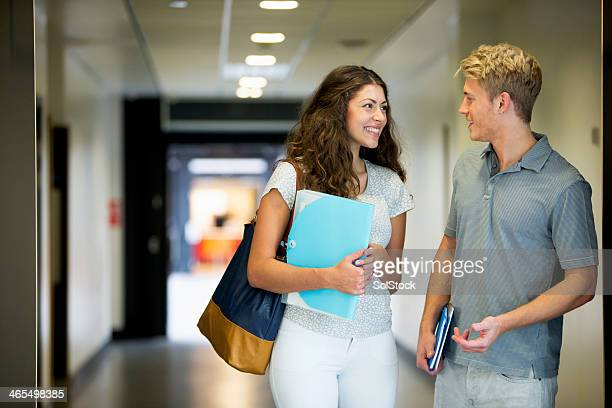 Teenage couple in school