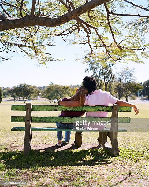 teenage couple (15-20) on bench, boy's arms around girl, rear view - blasius erlinger stock pictures, royalty-free photos & images