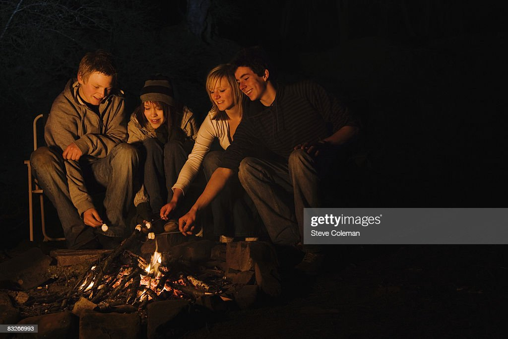 Teenage Couples Roasting Marshmallows Over Campfire Stock Photo