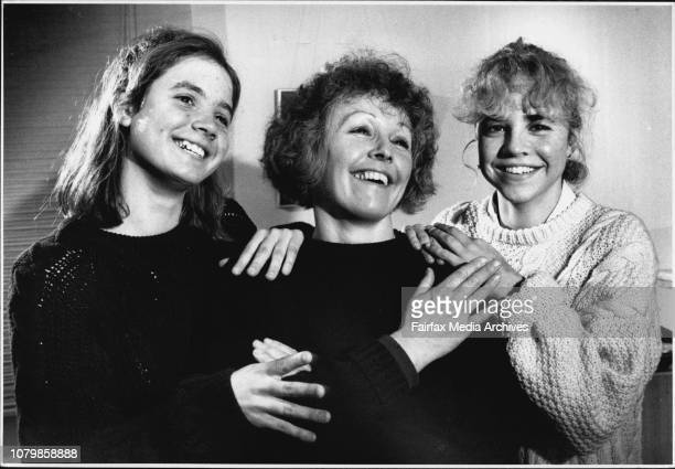 Ms Jacqueline Lyons of Annandale with her teenage daughters Holly 15 and Blaise in a lighter moment of their relationship July 22 1991