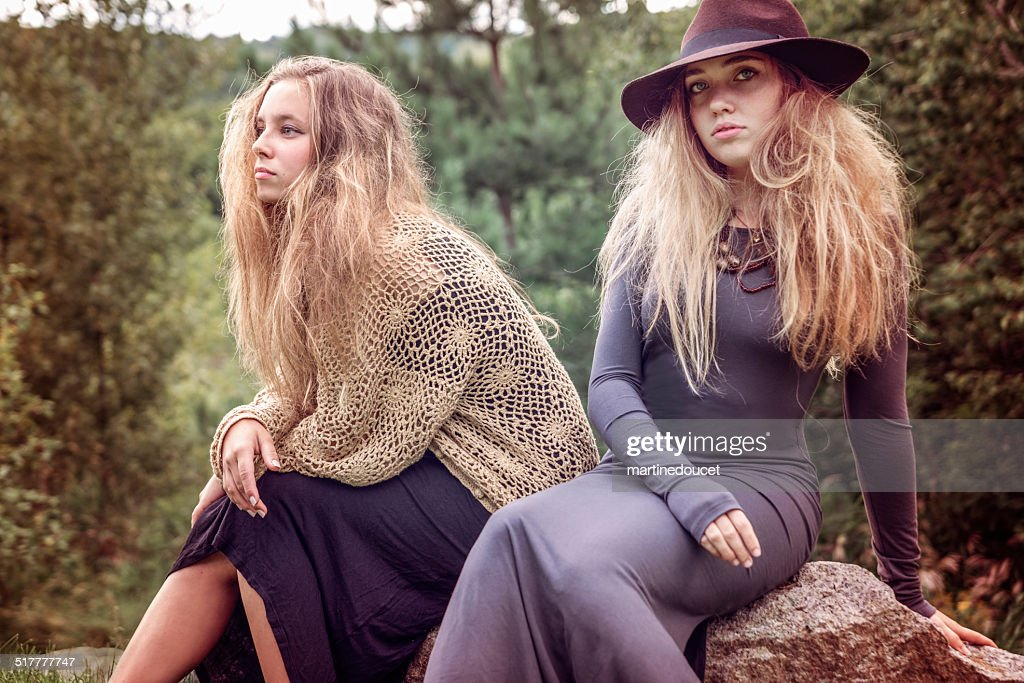 Teenage fashion and beauty in autumn country nature. : Stock Photo