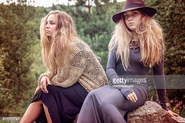 "teenage fashion and beauty in autumn country nature. - ""martine doucet"" or martinedoucet stockfoto's en -beelden"