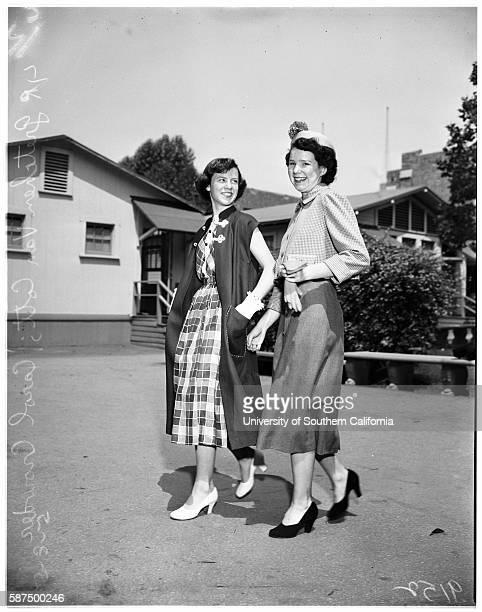 Teenage fashion show at Bancroft Junior High Gloria Eibe 14 years Jane Dineen Sherill Irwin 14 years Gretchen Van Cott 14 years Carol Crowder 14...