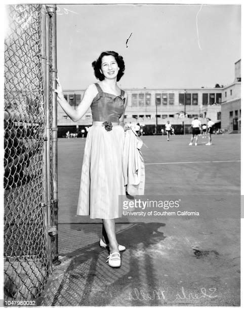 Teenage fashion show Bancroft Junior High May 8 1951 Gloria Eibe 14 yearsJane DineenSherill Irwin 14 yearsGretchen Van Cott 14 yearsCarol Crowder 14...