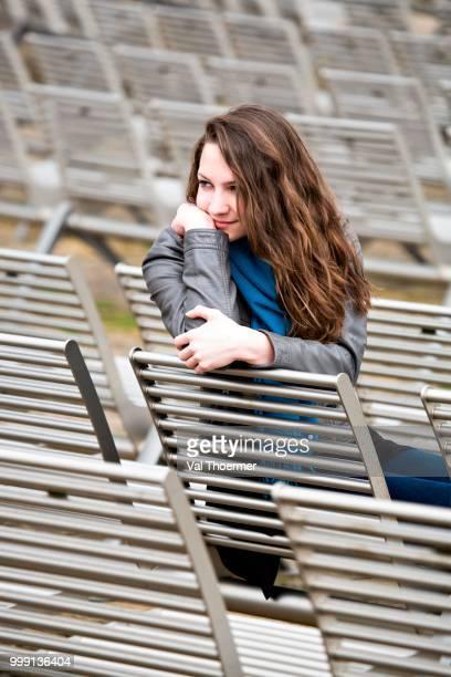 Teenage girl, 15 years, in an open-air theatre, Bad Staffelstein, Bavaria, Germany