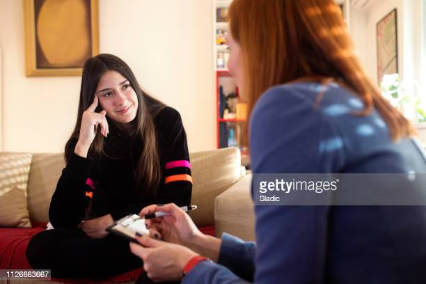 teenage girl at psychotherapy - counseling stock pictures, royalty-free photos & images